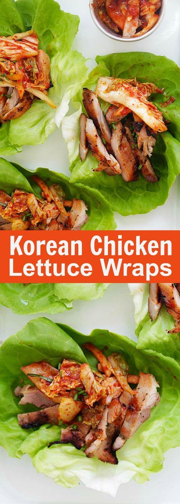 Healthy Eating : Korean BBQ Chicken Kimchi Lettuce Wraps ...