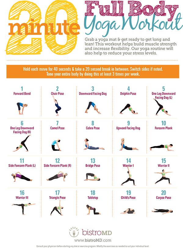 Yoga Poses Workouts For Beginners 20 Minute Full Body Yoga Workout Guide Infographic Daily Infographic Fitnessviral Magazine Your Number One Source For Daily Health And Fitness Motivation